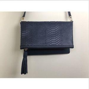 GIGI NEW YORK Convertible Leather Navy Clutch